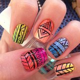An ombré manicure gets a fun update with some tribal patterns. Source: Instagram user xaprilw