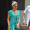 Eva Mendes Wearing Turquoise Dress