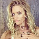 Rosie Huntington-Whiteley shared her tousled waves, bronze eye makeup, and dark manicure from a photo shoot. Source: Instagram user rosiehw