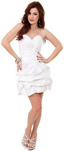 LM-16058, A Cute Satin Ruche Bubble Party Dress-Satin-Boutique.Com