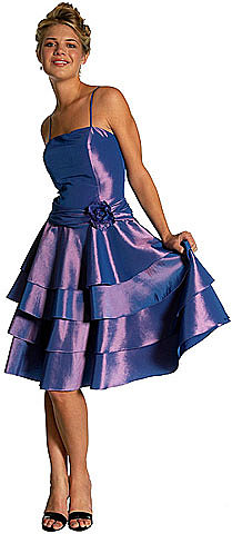 LM-c27341, A very Sweet Short Layered Satin Cocktail Dress with Flower Applique-Satin-Boutique.Com