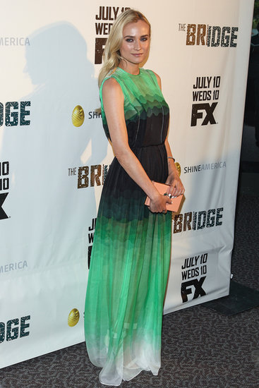 Diane Kruger never disappoints — this time she wowed in a brilliant green Jonathan Saunders gown at the premiere of The Bridge in LA.