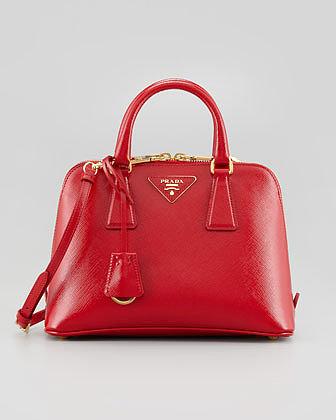 Prada Saffiano Vernice Promenade Crossbody Bag, Red
