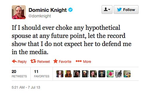 Dominic Knight can't quite wrap his head around Nigella Lawson's husband's grounds for divorce.