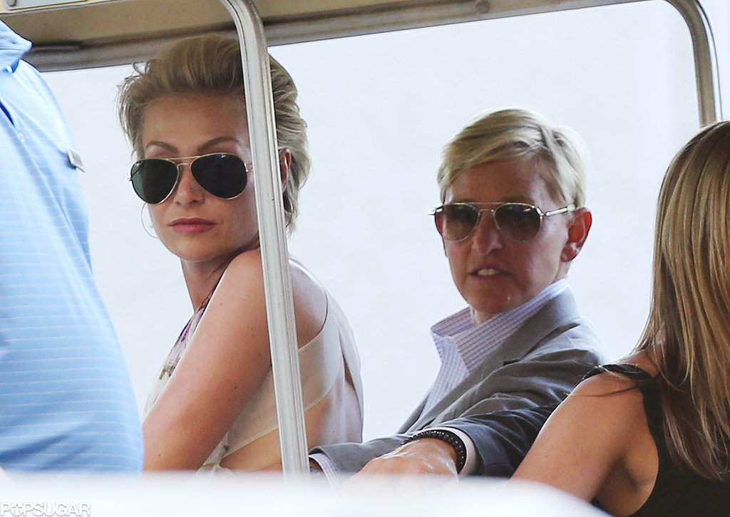 Portia de Rossi and Ellen DeGeneres attended Jimmy Kimmel's wedding.