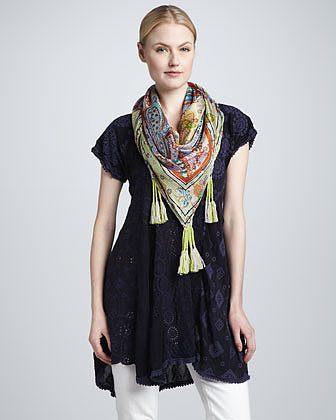 Johnny Was Collection Cap-Sleeve Patchwork Tunic
