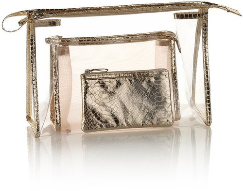 3 Piece Faux Snakeskin Print Mesh Cosmetic Bag Set