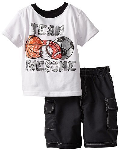 Kids Headquarters Boys 2-7 Tee With Black Cargo Shorts