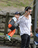 Flynn wore orange pants during a playdate in Central Park, NYC, in July 2013.