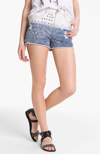 Jolt Stud Dip Dye High Waist Denim Shorts (Juniors)