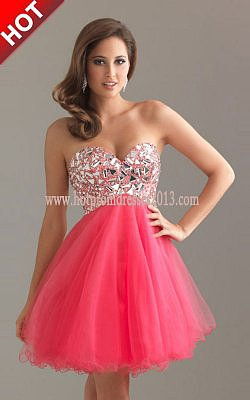 Popular Pink Strapless Sequin Short Prom Dress for Cheap