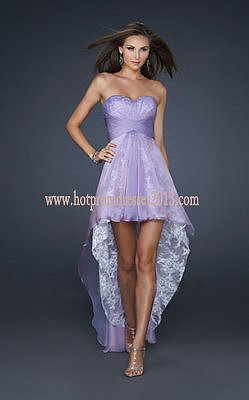 Purple Prom Dress on Purple Sweetheart Lace Ruffle High Low Prom Dress Fashion