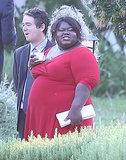 Gabourey Sidibe wore a red dress to Jimmy Kimmel's July 2013 wedding.
