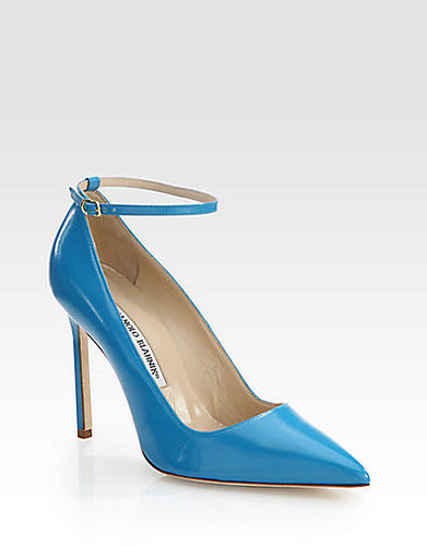 Manolo Blahnik BB Leather Ankle Strap Pumps