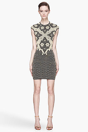 ALEXANDER MCQUEEN Yellow and black knit Honeycomb and bees jacquard Dress
