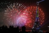 Fireworks filled the sky in Paris on Bastille Day.