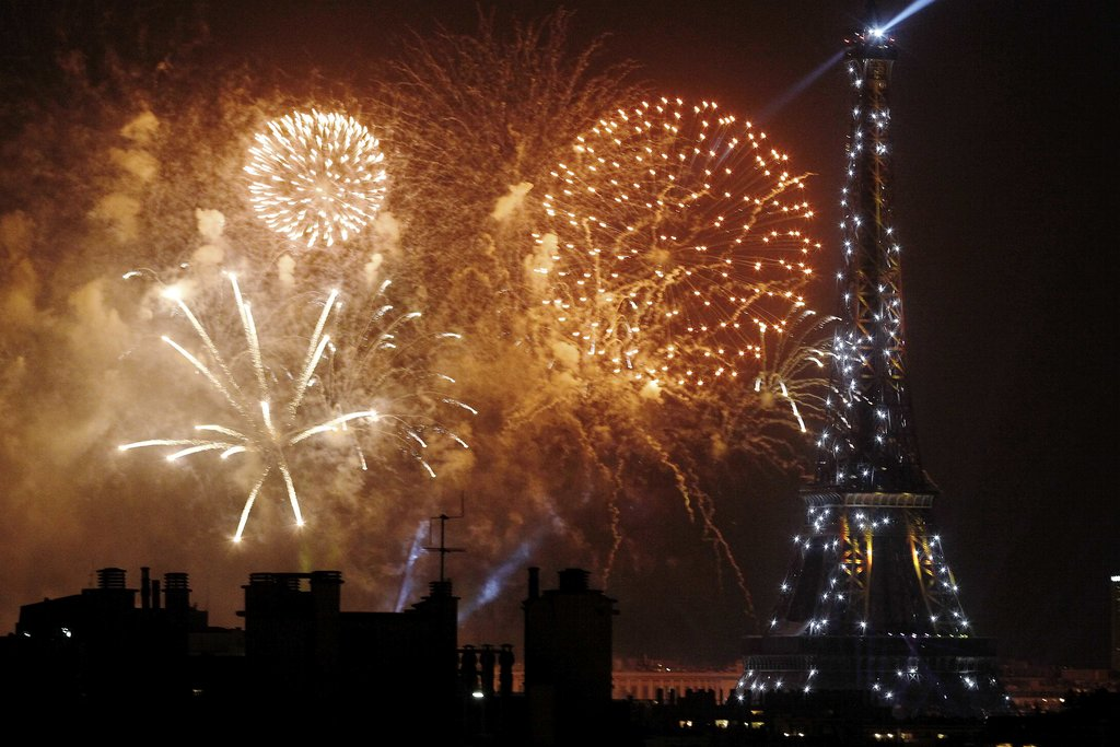 Colorful fireworks were set off on Bastille Day in Paris.