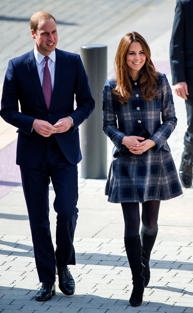 Kate and William took a stroll in Scotland with Kate looking chic in a Moloh plaid coat and knee-high boots, and the Prince in a sharp, slim-fitting suit.
