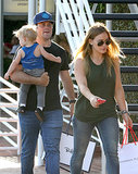 Hilary Duff and Mike Comrie made a shopping trip in LA with their son, Luca.