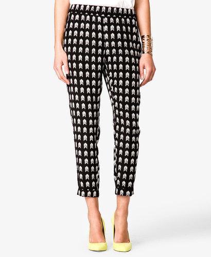 FOREVER 21 Arrowhead Print Satin Trousers