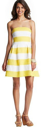 Petite Striped Strapless Flare Dress