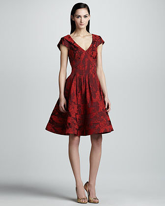 Zac Posen Floral Jacquard A-Line Dress, Cherry
