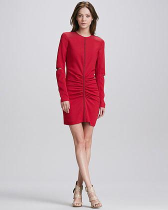 Cut25 Elbow-Cutout Ruched Dress