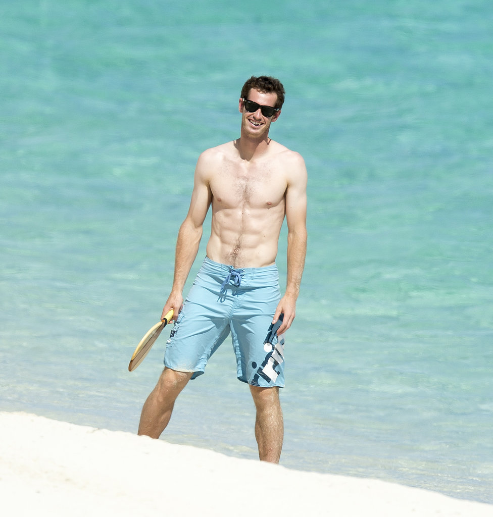 Andy Murray celebrated his Wimbledon win by taking his shirt off in the Bahamas in July 2013.