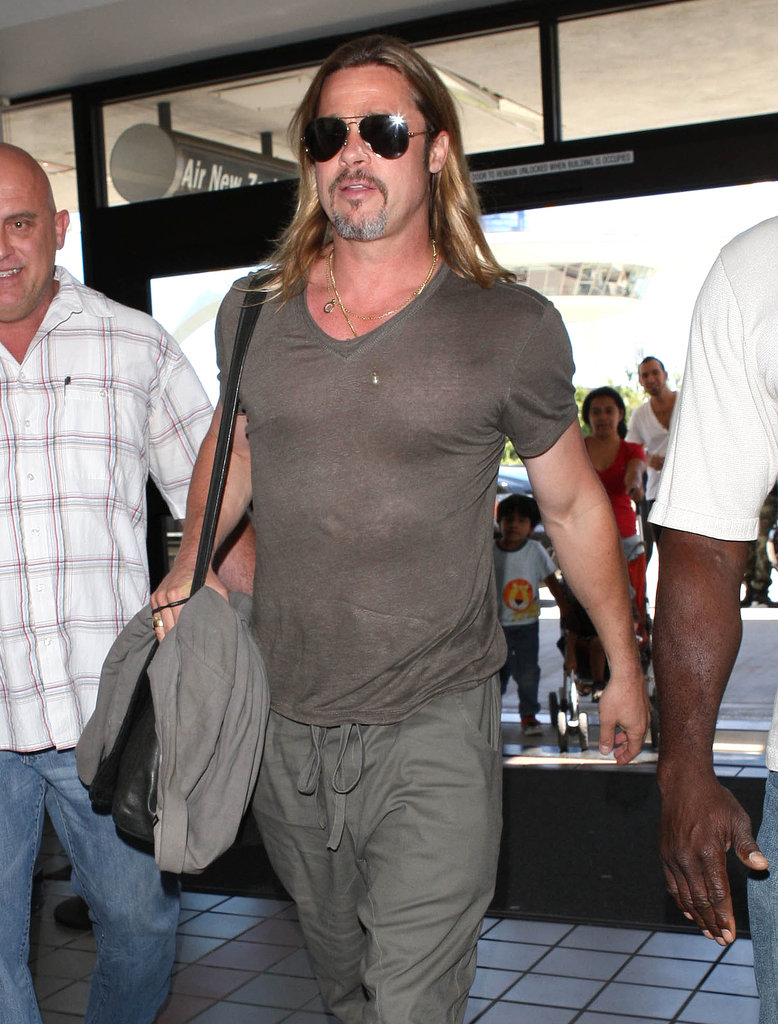 Brad Pitt showed off his fit physique.