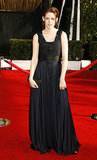 Stewart chose a draping navy gown, with black panel detail, for the 2008 Screen Actors Guild Awards.