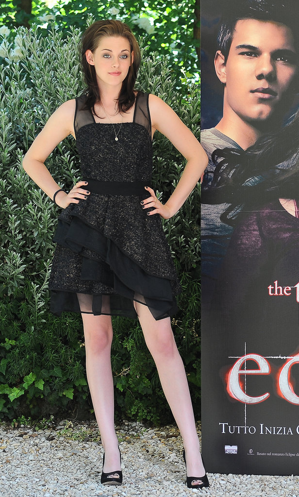 A tiered J. Mendel was Stewart's dress of choice for the Rome photocall for Eclipse in 2010.