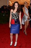 Stewart hit the red carpet for the Met Gala in May 2012 wearing head-to-toe Balenciaga. She arrived on the arm of former designer Nicolas Ghesquière and set tongues wagging with her eclectic ensemble.