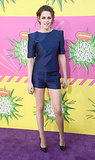 Stewart hit the red carpet at the 2013 Kids' Choice Awards in March wearing a smart, structured, dark-blue printed shorts set by Osman.