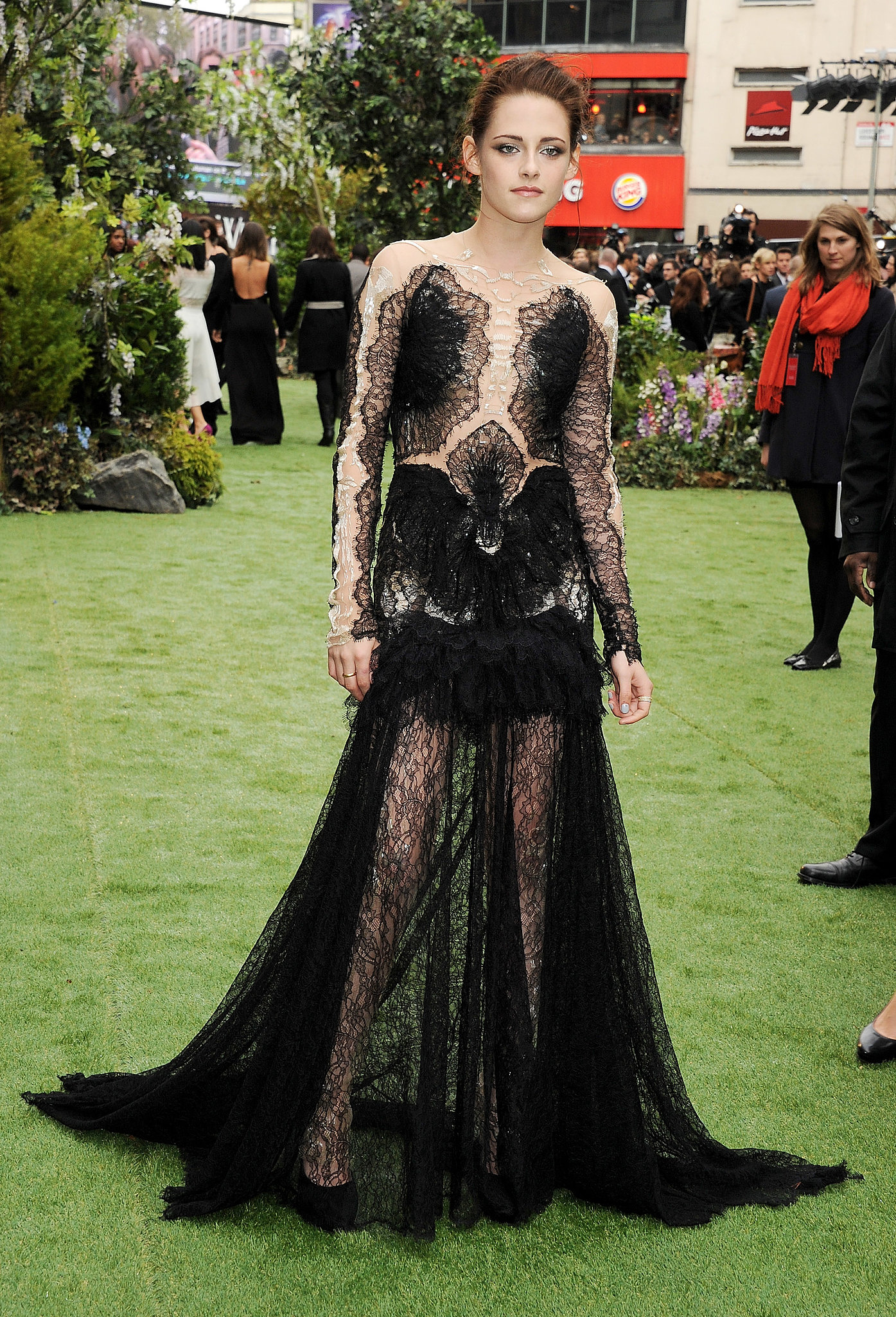 Stewart made a serious statement for the May 2012 premiere of Snow White and the Huntsman in London — she wore a gothic-inspired black lace Marchesa gown with a deceptively sheer bodice.