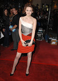 Stewart flashed a little color in a red-skirted Balenciaga dress at the Twilight premiere in LA back in November 2008.