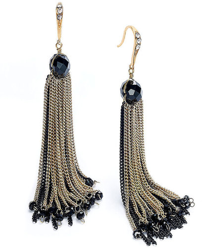 Macy's Ali Khan Earrings, Gold-Tone Black Chain Tassel Drop Earrings