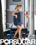 Jennifer Aniston left her trailer in NYC while on the set of Squirrels to the Nuts on July 16.