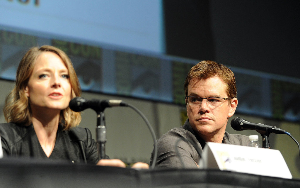 Jodie Foster and Matt Damon promoted Elysium together during a panel discussion in 2012.