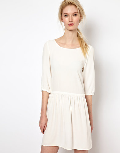 BA&SH Low Back Dress with Frill Skirt in Crepe