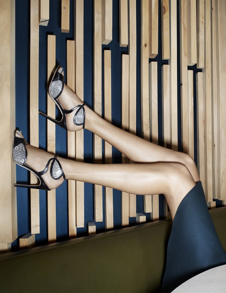 You're looking — or rather, gawking — at the Avril sandals, a combination of black leather and silver metallic detailing.  Photos courtesy of Rupert Sanderson