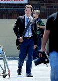 Elijah Wood was on set for his new movie Cooties in LA on Monday.
