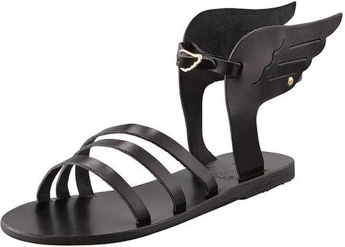 Ancient Greek Sandals Ikaria Winged Vachetta Flat Sandal, Black
