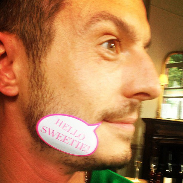 Love Magazine editor Katie Grand got creative with her cover sticker while hanging out with Jonathan Saunders. Source: Instagram user kegrand