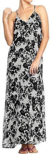Women's Printed Chiffon Maxi Dresses
