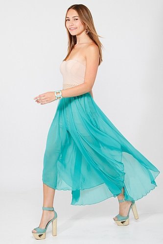 Halter Pearl Chiffon Dress