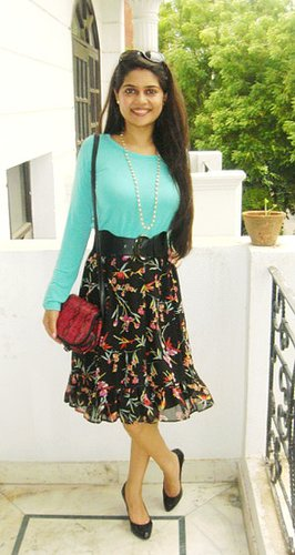 Floral Skirt and Mint Green Top