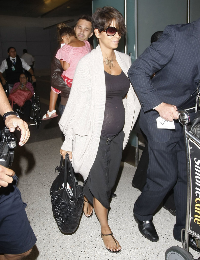 Halle Berry, Olivier Martinez, and Nahla arrived at LAX after Halle and Olivier got married in France over the weekend.