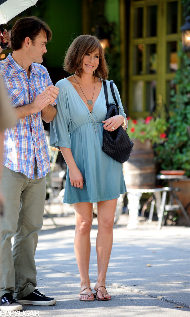 On July 17, Jennifer Aniston filmed a scene outside.