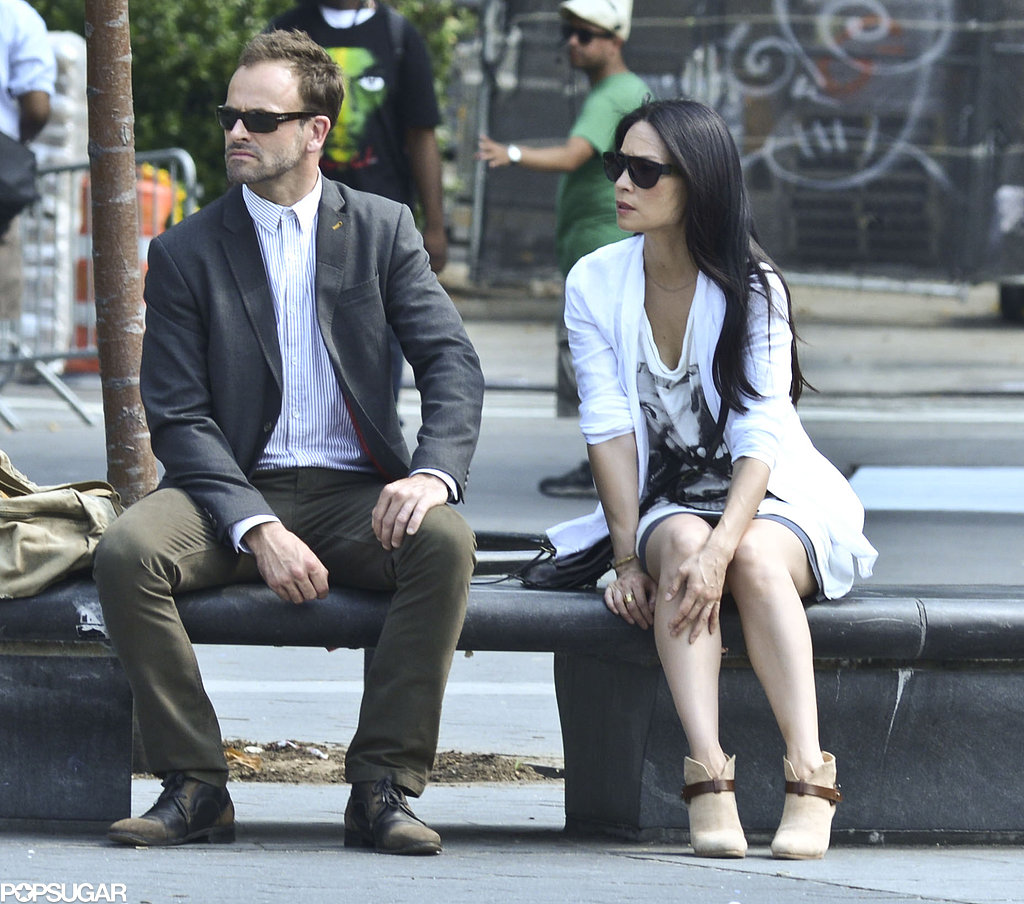 Lucy Liu and Jonny Lee Miller filmed scenes for Elementary in NYC on Wednesday.