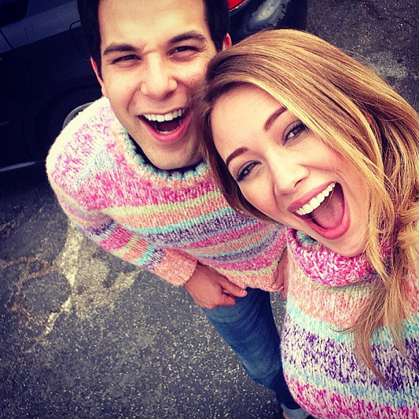Hilary Duff and Skylar Astin sported matching sweaters on the set of Flock of Dudes. S